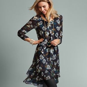 CAbi Pirouette Floral Chiffon Ruffled Hem Dress